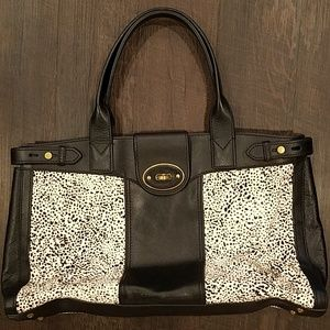 Fossil Tote Bag Black Leather and Cow Hide